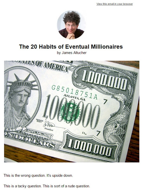 20 habits of millionaires email by Altucher