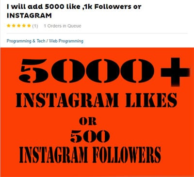 buying fake likes and follwers on Fiverr