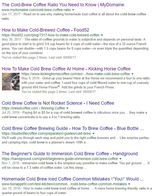 first page results google 'how to make cold brew coffee'