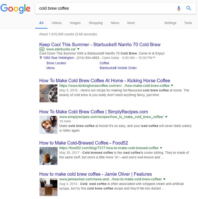 first page results in Google for cold brew coffee