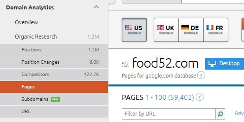 Locating the SEMrush Pages report in the menu