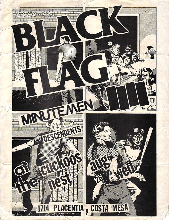 old punk rock flyer for black flag minutemen concert
