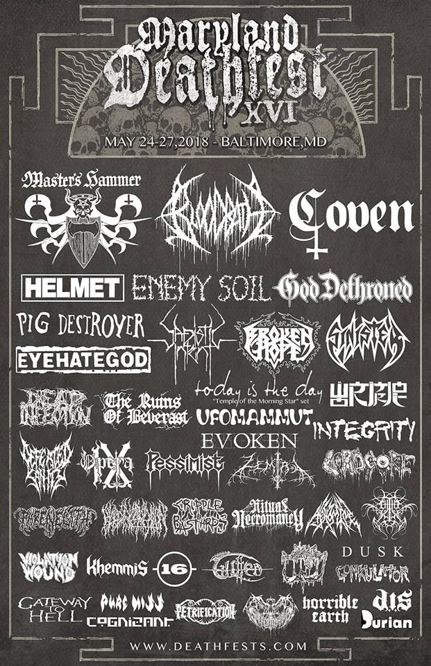 the poster for maryland deathfest 2018