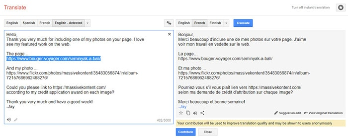 using Google translate for outreach