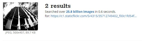 Tineye searched over 25.8 billion images