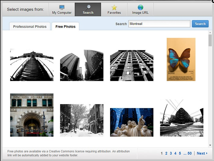 creative comons photo search in weebly dashboard