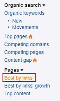 ahrefs pages menu