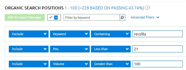 semrush filter by keyword