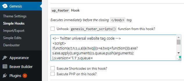 twitter universal website tag code