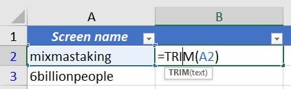Excel =TRIM